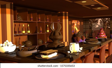 3D Illustration of Chocolate Bar with Chocolate Bunny Bartender