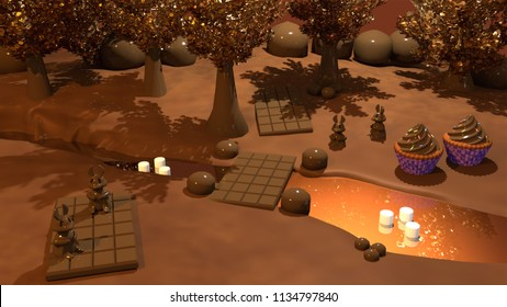3D illustration of chocolate forest with chocolate river