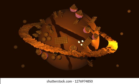 3D Illustration of a Chocolate Planet