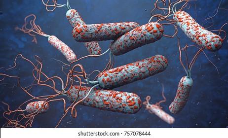 3d illustration of cholera pathogens in dark polluted water