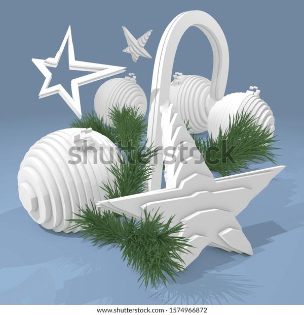 3D Illustration, Chrismas decoration on white background