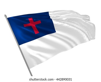 3d illustration of Christian flag waving in the wind