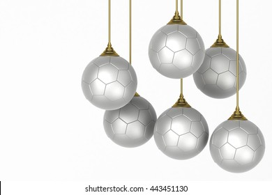3D illustration - Christmas balls in the shape of a soccer ball.