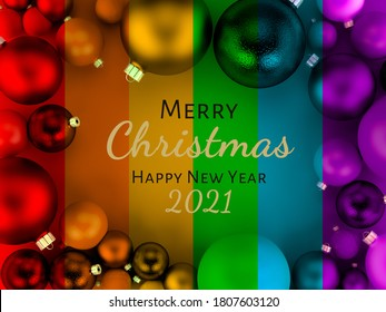 3D illustration, Christmas Card with LGBTI pride flag colors, Merry Christmas