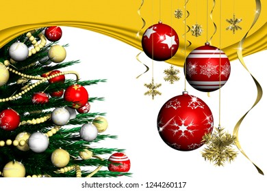 3D illustration. Christmas. Christmas decoration and fir tree decorated with white background.