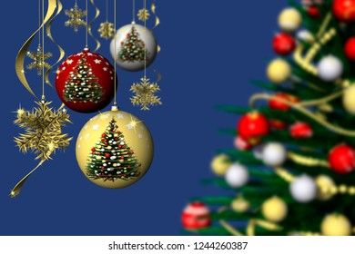 3D illustration. Christmas. Christmas decoration and fir tree decorated with blue background.