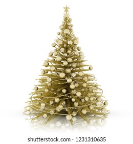 3D illustration. Christmas decoration. Golden christmas tree with gold decorations.