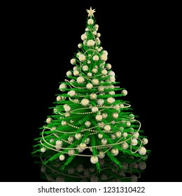 3D illustration. Christmas decoration. Green Christmas tree with gold decorations.