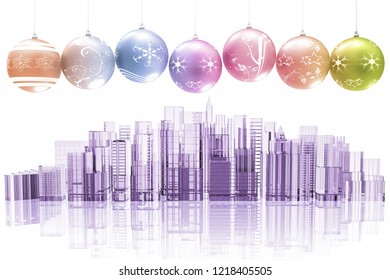 3D illustration. Christmas decoration with on the city skyline background with palaces and skyscrapers.