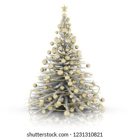 3D illustration. Christmas decoration. White Christmas tree with gold decorations.