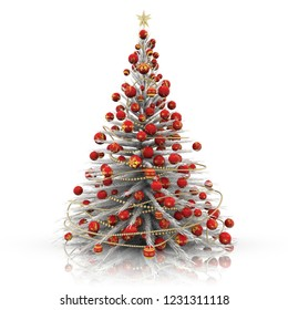 3D illustration. Christmas decoration. White Christmas tree with red decorations.