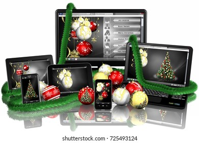 3D illustration. Christmas. Electronics products with Christmas decoration.