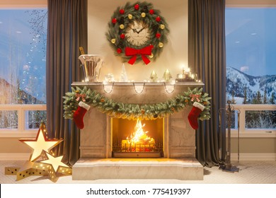 3d illustration of a Christmas interior with a fireplace and gifts. An image for a postcard or a poster. Interior design in classical architectural style. Merry Christmas and New Year 2018
