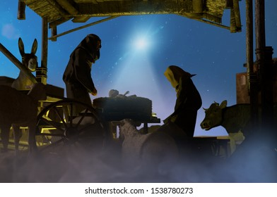 3D Illustration of a Christmas nativity scene of baby Jesus in the manger with Joseph, Mary