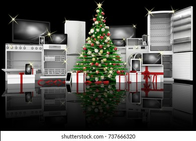 3D illustration. Christmas tree decorated green. Christmas technology gifts: appliances, computer, phone, smart phone, tablet.
