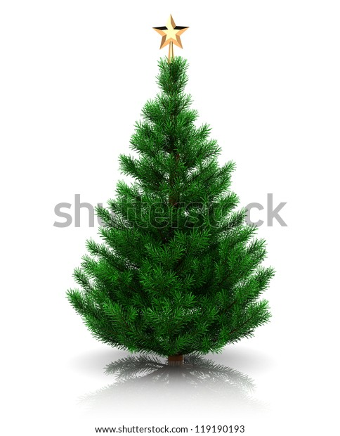 3d illustration of christmas tree with golden star, over white background