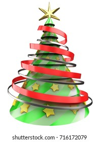 3d illustration of Christmas tree over white background with yellow stars ornament