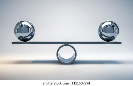 3d illustration of chrome balls on a scale