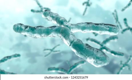 3d illustration of chromosome. DNA. Genetic concept background