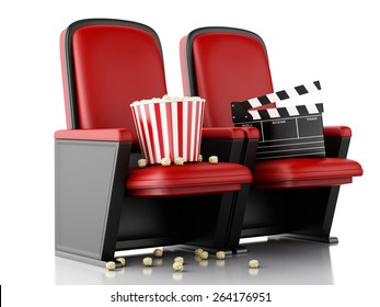 3d illustration. Cinema clapper board and popcorn on theater seat. Cinema concept.