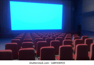 3d illustration of the cinema interior of movie theatre with empty red   and black seats with copyspace on the screen and glow on edge, concept  of recreation and entertainment 3d render