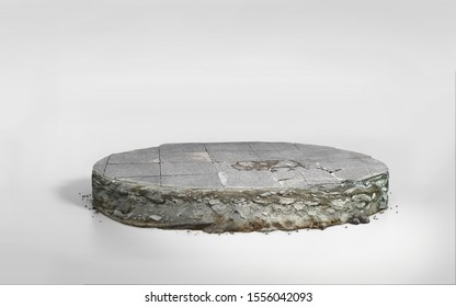 3D illustration circle cross section, stone ground in round cutaway, Realistic 3D crack concrete floor isolated on white