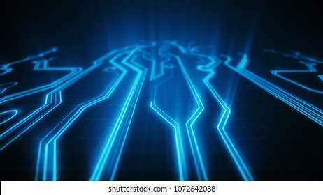 3d illustration circuit board electronic hi-tech. Beautiful chip background. Abstract circuit. Different colors in my profile.