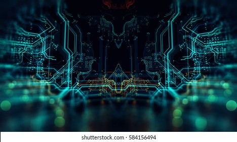 3d Illustration. Circuit board futuristic server code processing. Orange,  green, blue technology background  with bokeh/Printed circuit board in the server executes the code.