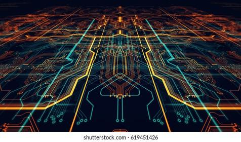 3d Illustration. Circuit board futuristic server code processing. Orange,  green, blue technology background/Printed circuit board futuristic server