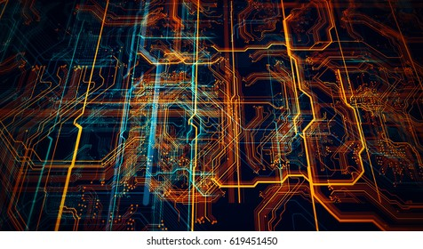 3d Illustration. Circuit board futuristic server code processing. Orange,  green, blue technology background/Printed circuit board futuristic server