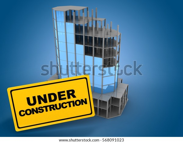 3d illustration of city building over blue light background with under construction sign