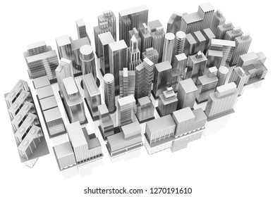 3D illustration. City Houses and skyscrapers on white background with reflection.