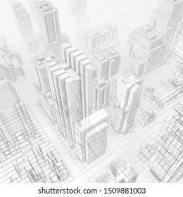 3D illustration, city with lines effect on grey background