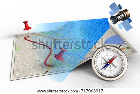 3 d illustration city map pins routeのイラスト素材 717068917