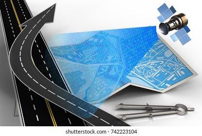 3d illustration of city map with road arrow and circle tool