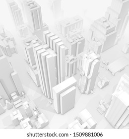 3D illustration, city on grey background