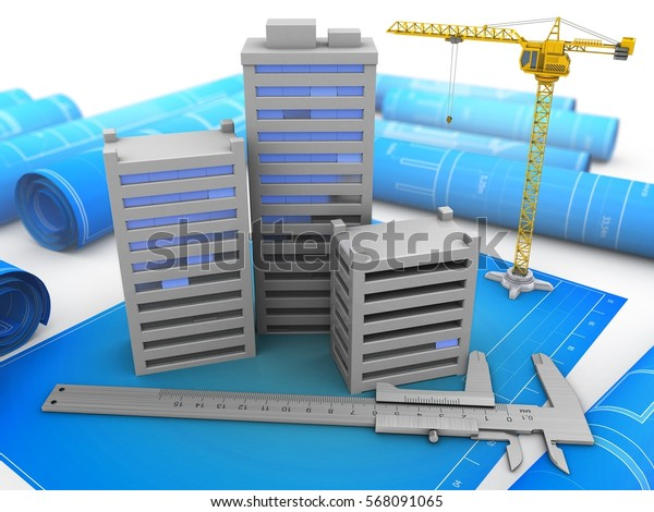 3d illustration of city over blueprints background with crane