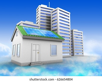 3d illustration of city over sky background with green house