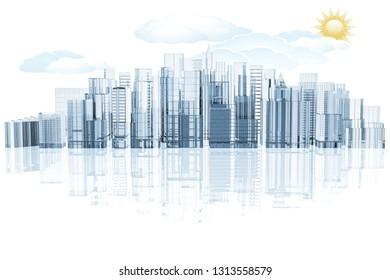 3D illustration. City skyline on white background with reflection.