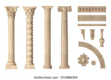 3d illustration. Classic antique marble columns set in in different styles