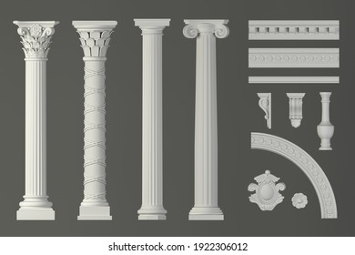3d illustration. Classic antique white marble columns set in in different styles