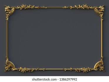 3D illustration Classic baroque decorative elements in the form of a rectangular frame. Holiday decor gold elements isolated on gray background. Digital illustration. Gold frame