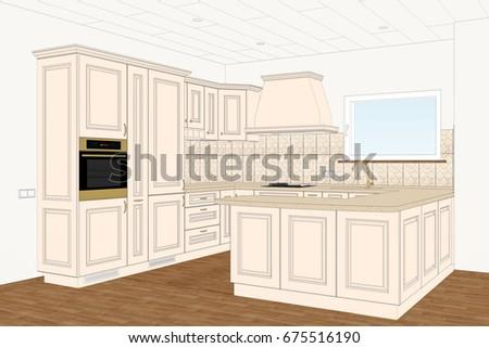 3 D Illustration Classic Kitchen Design Light Stock Illustration