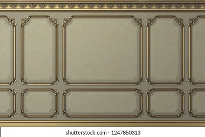 3d illustration. Classic wall of biege old gold wood panels. Joinery in the interior. Background.