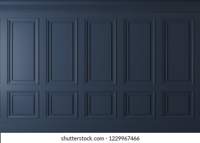 3d illustration. Classic wall of dark wood panels. Joinery in the interior. Background.