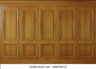 3d illustration. Classic wall of vintage oak wood panels. Joinery in the interior. Background.