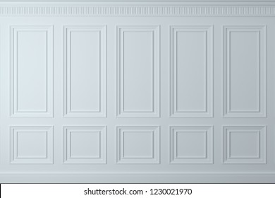 3d illustration. Classic wall of white wood panels. Joinery in the interior. Background.