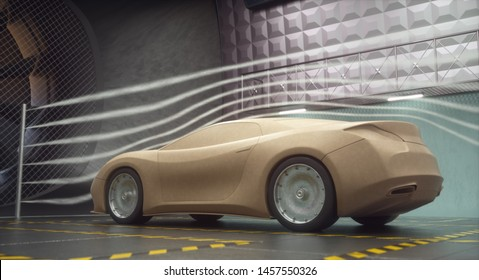 3D illustration. Clay car inside wind tunnel. Design without real car reference and without copyright. Concept sports car, industry of transportation.