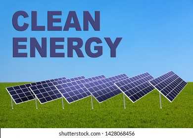 3D illustration of CLEAN ENERGY title on clear sky as a background, along with solar panels.