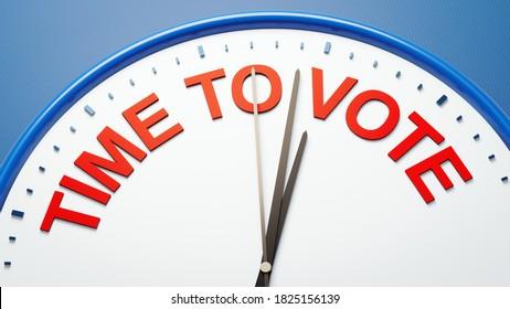 3D-Illustration einer Uhr zur Abstimmung